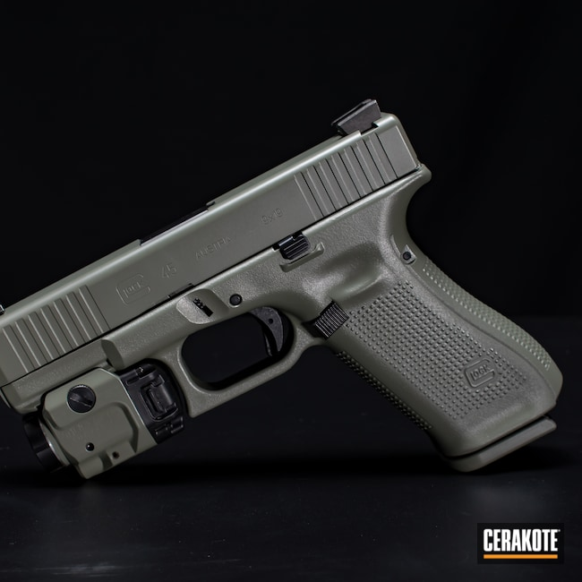 Cerakoted: S.H.O.T,Glock 43X,Jungle E-140,BLACKOUT E-100,Two Tone,Firearm,Pistol,Glock,Streamlight,43x