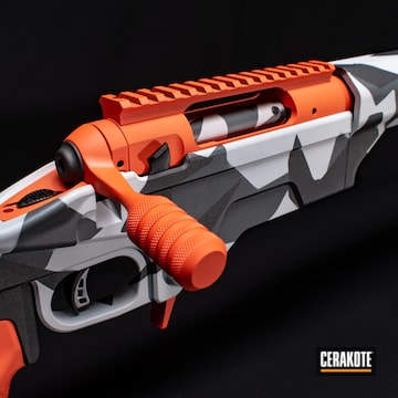 Bolt Action Rifle Cerakoted Using Frost, Hi-vis Orange And Platinum Grey
