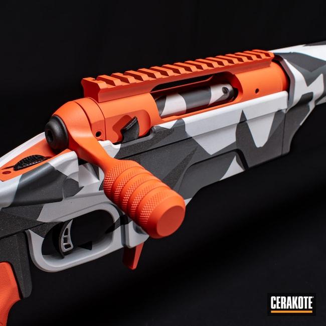Cerakoted: S.H.O.T,Bolt Action,Firearm,FROST H-312,Savage,Camo,Splinter Camo,PLATINUM GREY H-337,HI-VIS ORANGE H-346,Cobalt H-112
