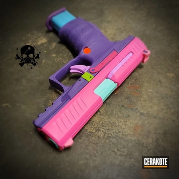Multi-color Walther Ppq Cerakoted Using Zombie Green, Prison Pink And Polar Blue