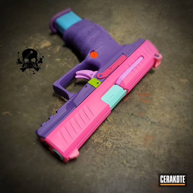 Cerakoted: S.H.O.T,Robin's Egg Blue H-175,PINK CHAMPAGNE H-311,Colorful,Zombie Green H-168,nerf gun,Pistol,NERF,9mm,Walther,Walther PPQ,Prison Pink H-141,Carry Gun,Handguns,POLAR BLUE H-326