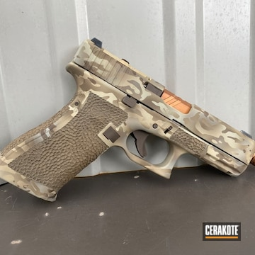 Multicam Glock Cerakoted Using Desert Sand, Chocolate Brown And Light Sand