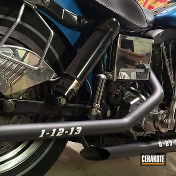Exhaust Pipes Cerakoted Using Graphite Black And Bright White