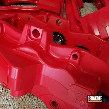 Brake Calipers Cerakoted Using Stoplight Red