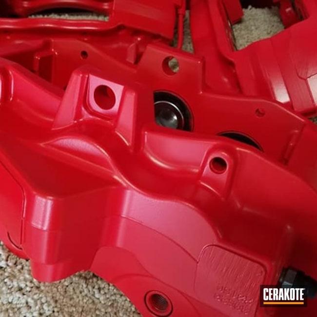 Brake Calipers Cerakoted Using Stoplight Red