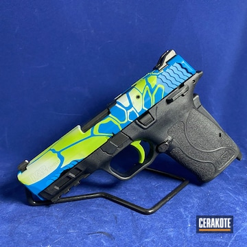 M&p Shield Cerakoted Using Zombie Green, Battleship Grey And Nra Blue