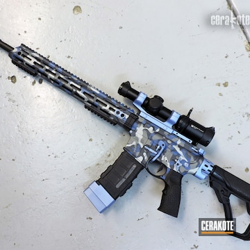 Multicam Ar-15 Cerakoted Using Tactical Grey, Sniper Grey And Polar Blue