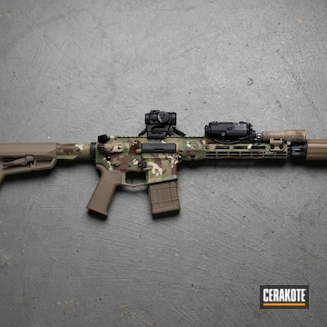 Multicam Aero Precision Ar Cerakoted Using Plum Brown, Multicam® Dark Brown And Multicam® Pale Green
