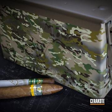Multicam Ammo Box Cerakoted Using Multicam® Dark Brown, Desert Sand And Multicam® Pale Green
