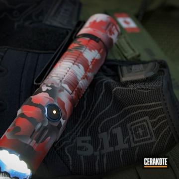 Olight Flashlight Cerakoted Using Hidden White, Usmc Red And Graphite Black
