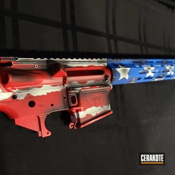 Complete Ar Upper Cerakoted Using Stormtrooper White, Usmc Red And Nra Blue
