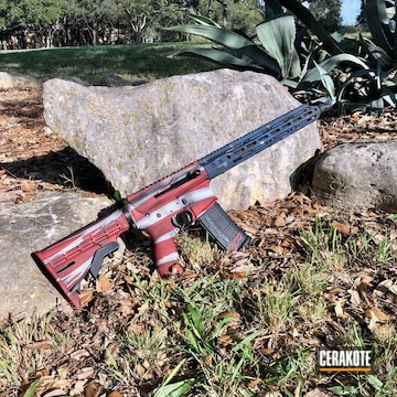 Unites States Flag Ar-15 Cerakoted Using Frost, Usmc Red And Nra Blue