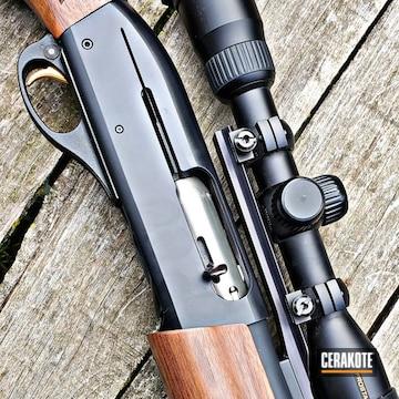 12 Gauge Remington Shotgun And Scope Cerakoted Using Graphite Black