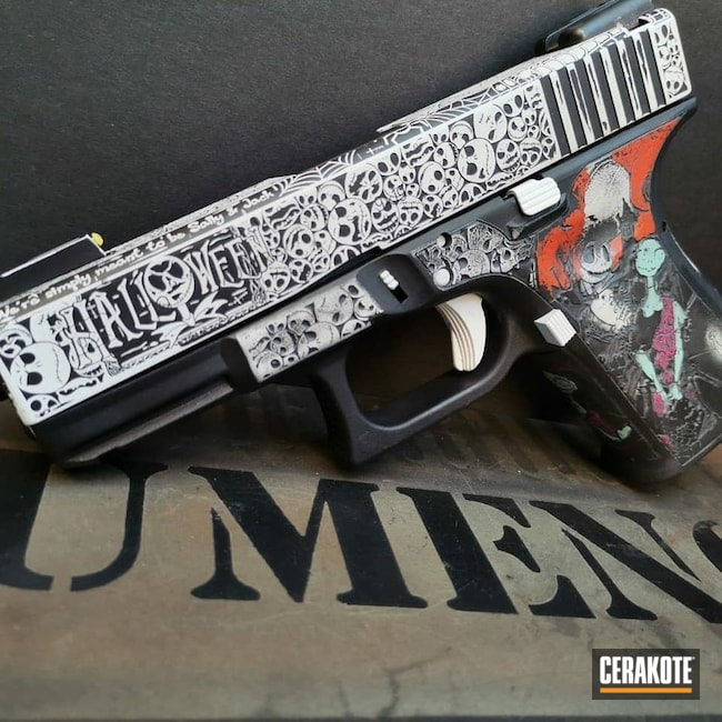 Nightmare Before Christmas Themed Glock Cerakoted Using Hunter Orange, Stormtrooper White And Usmc Red