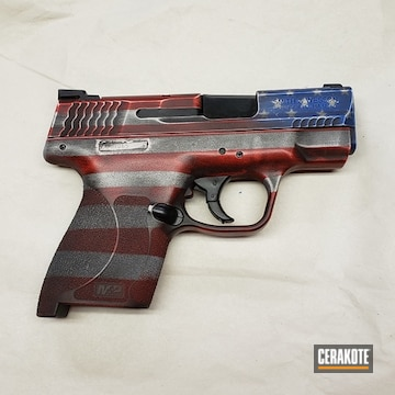 Distressed United States Flag M&p Shield Cerakoted Using Usmc Red, Bright White And Nra Blue