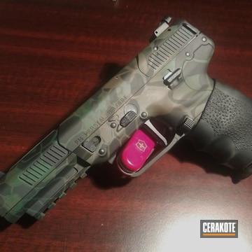 Kryptek Pattern Fn Herstal Pistol Cerakoted Using Armor Black, Highland Green Nd Chocolate Brown