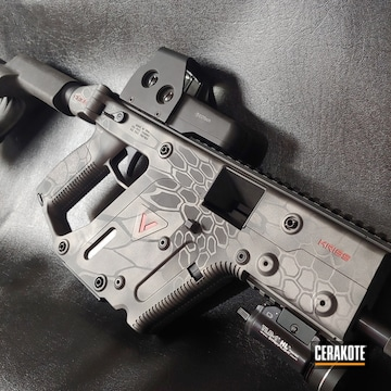 Kryptec Kriss Vector Cerakoted Using Savage® Stainless, Habanero Red And Platinum Grey