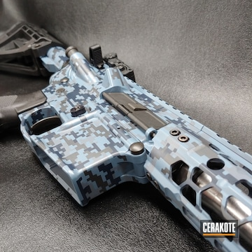 Digital Camo Smith & Wesson M&p 15 Cerakoted Using Kel-tec® Navy Blue, Bright White And Sniper Grey