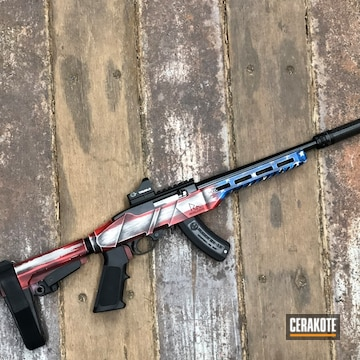 Ruger Charger And Distressed Unites States Flag Rival Arms R22 Chassis Cerakoted Using Snow White, Usmc Red And Nra Blue