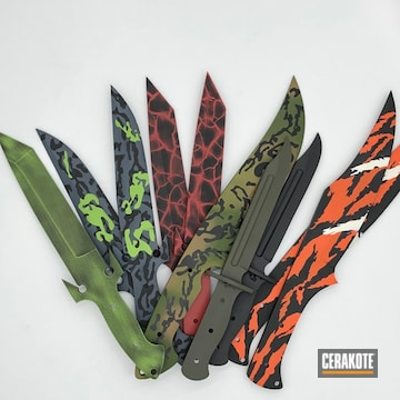 Custom Kidder Knives Cerakoted Using Hunter Orange, Bright White And Graphite Black