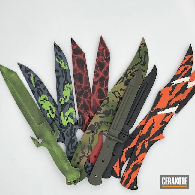 Cerakoted: Bright White H-140,S.H.O.T,Fixed-Blade Knife,Graphite Black H-146,Knife,Hunter Orange H-128,Kidder Knives,Knives