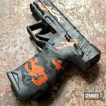 Multicam Taurus Tx22 Cerakoted Using Hunter Orange, Multicam® Dark Grey And Graphite Black