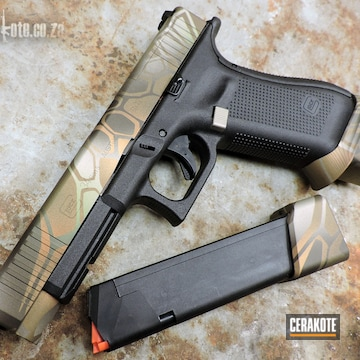 Kryptek Glock 34 Cerakoted Using Zombie Green, Graphite Black And Satin Mag