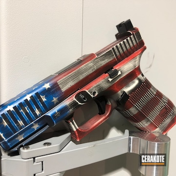 Distressed United States Flag Glock Cerakoted Using Bright White, Usmc Red And Nra Blue