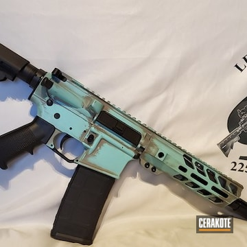 Distressed Custom Ar-15 Coated Using Steel Grey And Robin's Egg Blue