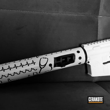 Complete Ar Upper Cerakoted Using Stormtrooper White And Graphite Black