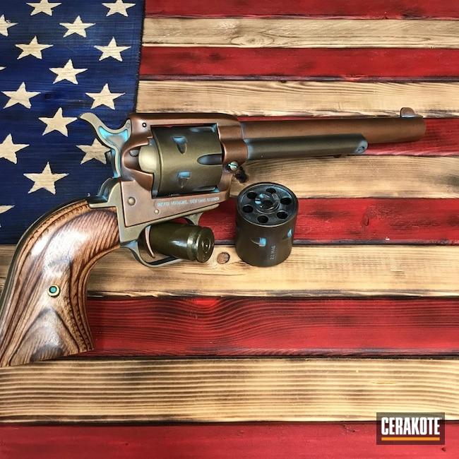 Heritage Rough Rider Revolver Cerakoted Using Blue Raspberry, Parakeet Green And Burnt Bronze