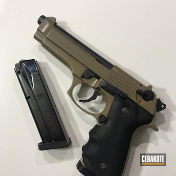 Complete Restored 9mm Beretta Cerakoted Using Armor Black And Coyote Tan