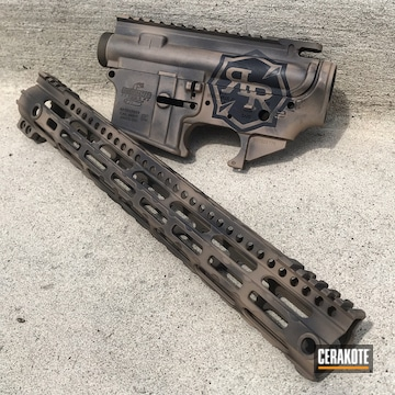 Ar Upper, Lower And Hand Guard Cerakoted Using Federal Brown And Graphite Black