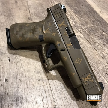 Louis Vuitton Themed Glock 48 Cerakoted Using Chocolate Brown And Gold