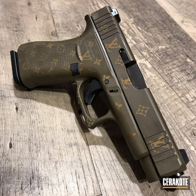 Cerakoted: Glock 48,S.H.O.T,Glock,Louis Vuitton,Gold H-122,Chocolate Brown H-258
