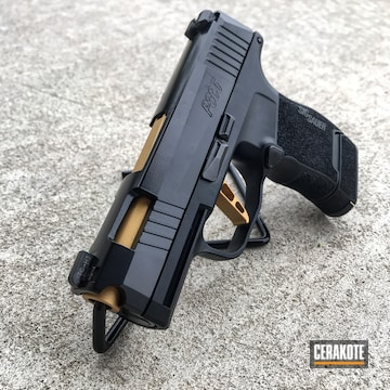 Sig P365 Cerakoted Using Graphite Black And Gold