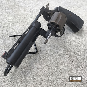 Colt Revolver Cerakoted Using Graphite Black And Burnt Bronze