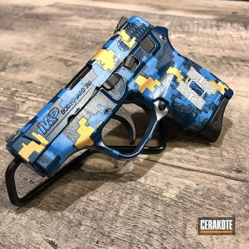 Digital Camo M&p Bodyguard 380 Cerakoted Using Kel-tec® Navy Blue, Sky Blue And Gold