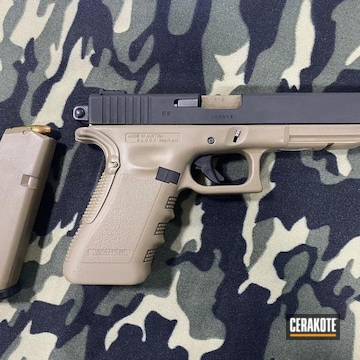 Glock Cerakoted Using Armor Black And Coyote Tan