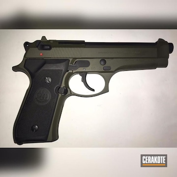 9mm Beretta Cerakoted Using Armor Black And O.d. Green