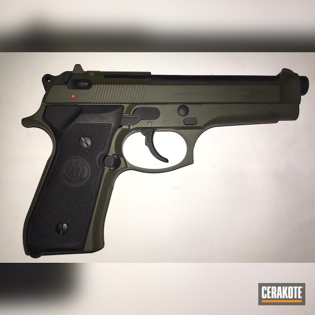 Cerakoted: S.H.O.T,9mm,Beretta92,Armor Black H-190,Beretta,92FS,O.D. Green H-236