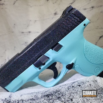 Smith & Wesson M&p 9 Cerakoted Using Gloss Black And Robin's Egg Blue