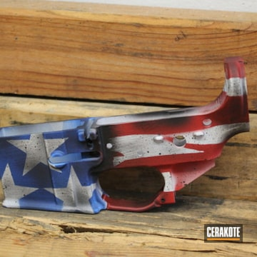 United States Flag Theme Ar Lower Cerakoted Using Usmc Red, Bright White And Nra Blue