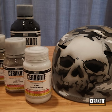 Custom Baseball Helmet Cerakoted Using Magpul® Stealth Grey, Armor Black And Hidden White