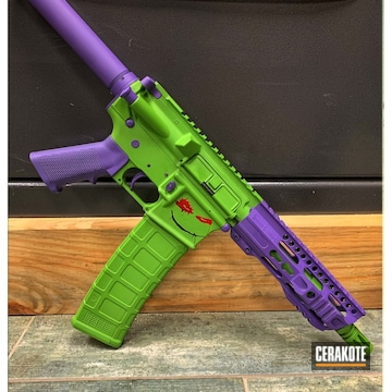 Joker Theme Ar-15 Cerakoted Using Zombie Green, Graphite Black And Bright Purple