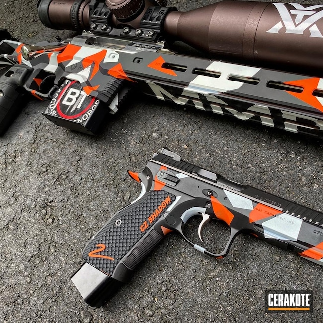 Cerakoted: S.H.O.T,Rifle,6.5 Creedmoor,MDT,Graphite Black H-146,Bolt,Stormtrooper White H-297,Prs,Hunter Orange H-128