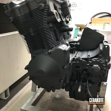 Suzuki Motorcycle Engine Cerakoted Using Cerakote Glacier Black