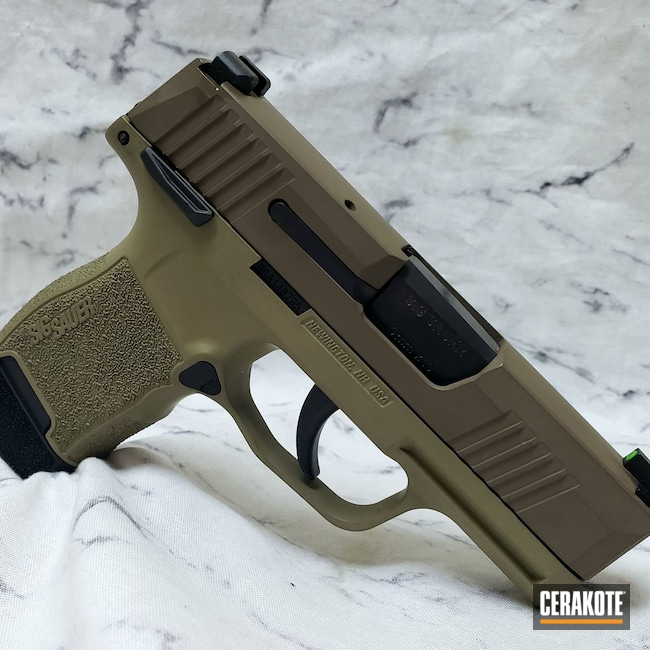 Cerakoted: S.H.O.T,Custom Mix,Sig P365,Look A Like,Coyote Tan H-235,Custom,Hesseling,p365,Sig Sauer,Hesseling and Sons