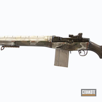 Mad Max Theme M1a Cerakoted Using Noveske Tiger Eye Brown, Satin Aluminum And Desert Sand
