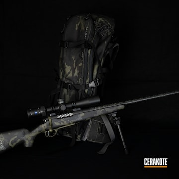 Multicam Bolt Action Rifle Cerakoted Using Cobalt Kinetics™ Green And Graphite Black